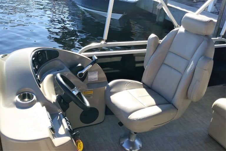 Image of Bentley pontoon boat Captain's chair and helm