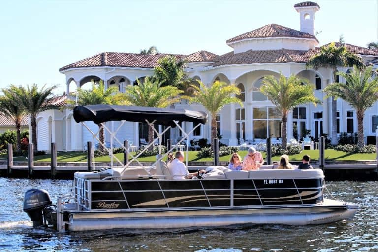 Image of large group enjoying our 24' Bentley pontoon boat