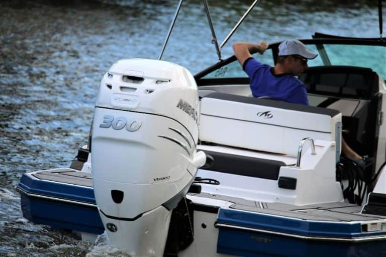 Close up image of 300 HP engine on rental boat