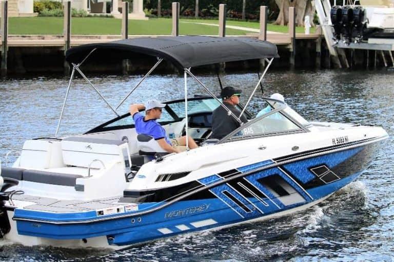 Starboard side of Monterey M-45 rental boat